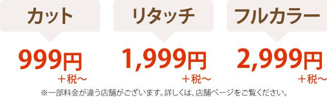 カット999円、リタッチ1,999円、フルカラー2,999円